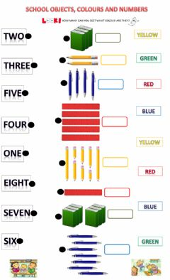 Interactive worksheet School objects colours and numbers