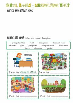 Interactive worksheet School rooms-2