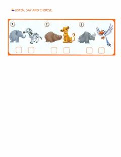 Interactive worksheet Listen, say and choose - ANIMALS
