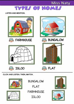 Interactive worksheet Types of homes