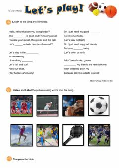 Interactive worksheet Lets play