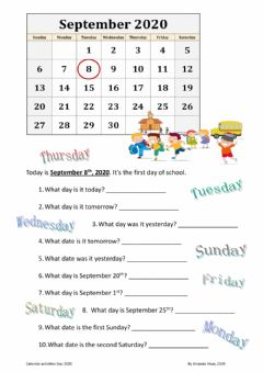 Interactive worksheet September calendar
