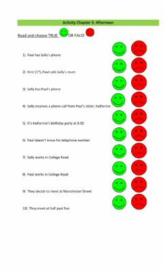 Interactive worksheet Sally's phone: Afternoon