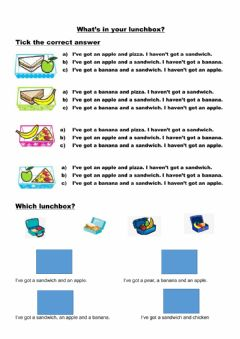 Ficha interactiva What's in your lunchbox?