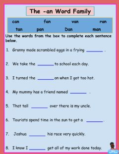 Interactive worksheet -an Word Family 1