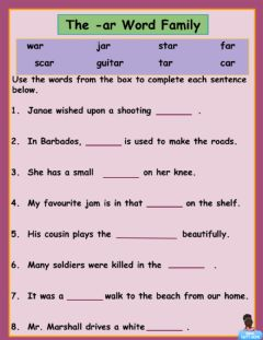 Interactive worksheet -ar Word Family 1