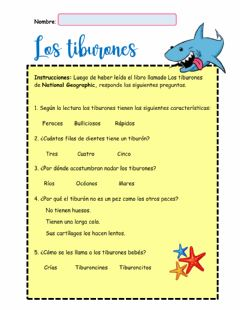 Interactive worksheet Los tiburones