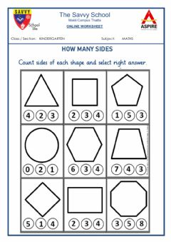 Interactive worksheet Savvy KG Math 02