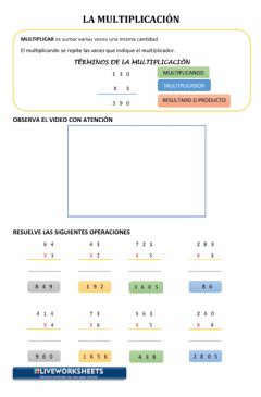 Interactive worksheet La Multiplicación