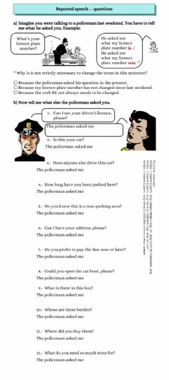 Interactive worksheet Reported speech questions - policeman's questions