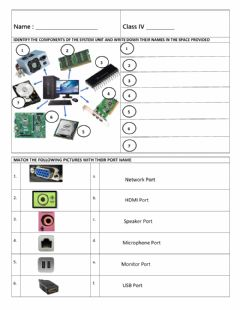 Interactive worksheet Components Inside the System Unit