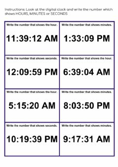 Interactive worksheet Hours Minutes Seconds