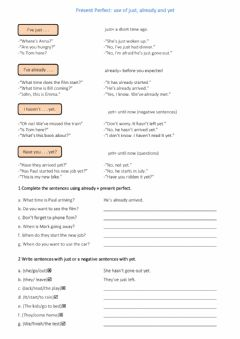 Interactive worksheet Present Perfect use of just, already, yet