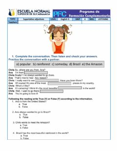 Interactive worksheet Listening unit 4