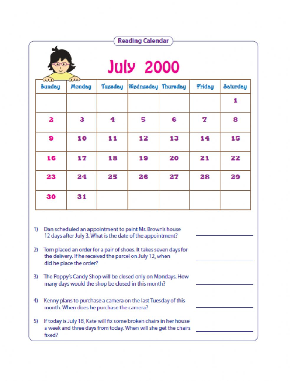 Reading Simple Timetables And Using Calendars Worksheet [ 1291 x 1000 Pixel ]