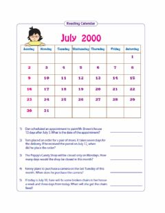 Ficha interactiva Reading Simple Timetables and Using Calendars
