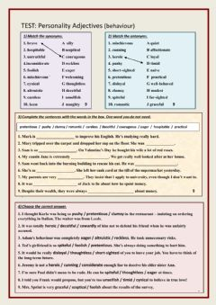 Interactive worksheet Test Personality