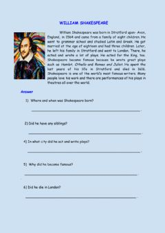 Interactive worksheet William Shakespeare