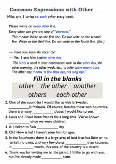 Interactive worksheet Other vs Another vs Others vs The others