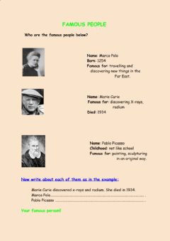 Interactive worksheet Famous People