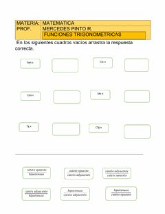 Interactive worksheet Funciones trigonometricas