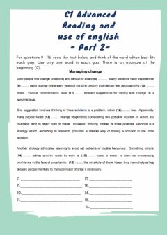 Interactive worksheet C1 Advanced - Reading and use of english - PART 2