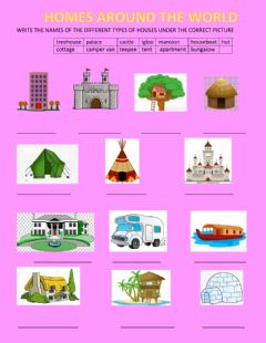 Interactive worksheet Different types of homes