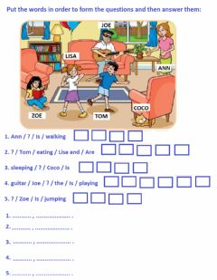 Interactive worksheet Present continuous questions