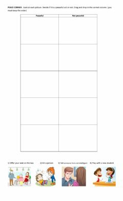 Interactive worksheet Peaceful and not peaceful acts