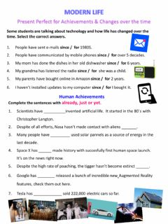 Interactive worksheet Present perfect: Modern Life