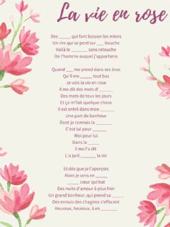 Interactive worksheet La vie en rose
