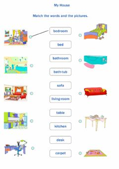 Interactive worksheet My house. match 1