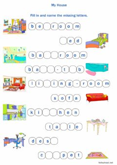 Interactive worksheet My house. missing letters 1
