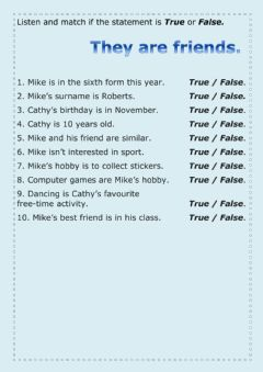 Interactive worksheet They are friends