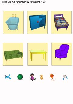 Interactive worksheet In, on, under - Toys