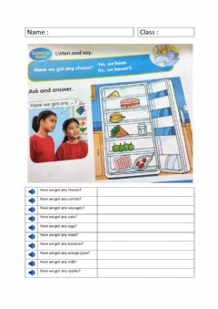 Interactive worksheet Look, listen, say and choose the correct answer.