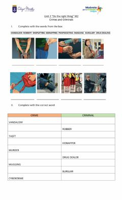 Ficha interactiva Crimes and Criminals Vocabulary