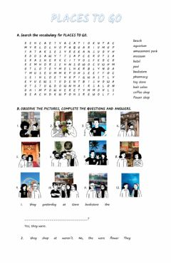 Interactive worksheet Places to go 4
