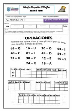 Interactive worksheet Time tables