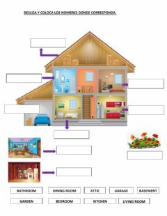 Interactive worksheet Parts of the house 2