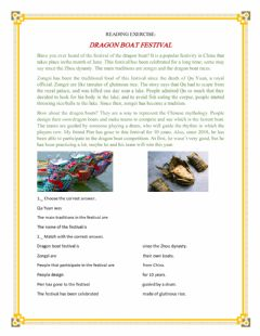 Interactive worksheet Reading Exercise: Dragon Boat Festival