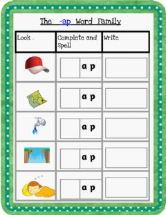 Interactive worksheet The -ap Word Family