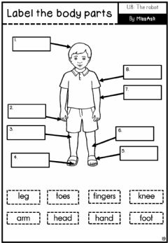 Ficha interactiva English year 2 unit 8 label body parts