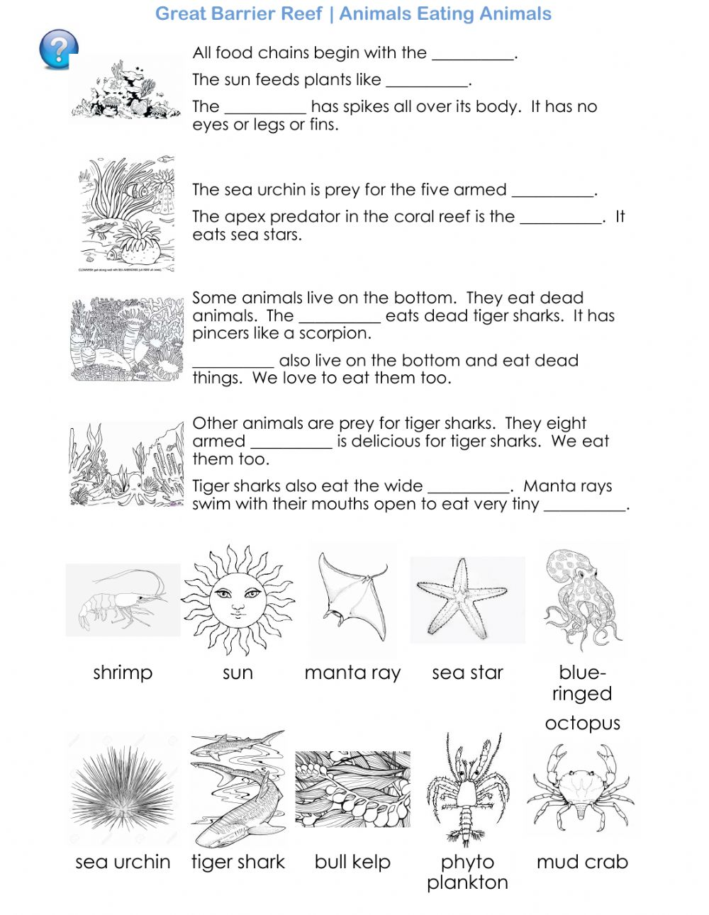 The Great Barrier Reef - Animals Eating Animals worksheet