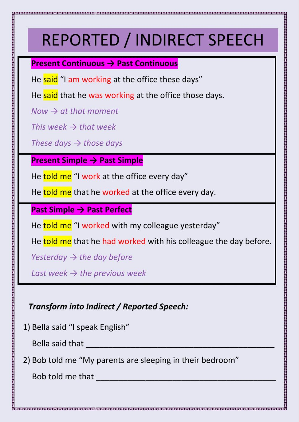 Reported   Indirect Speech Present Simple, Present Continuous ...
