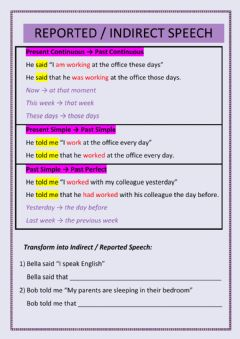 Interactive worksheet Reported - Indirect Speech (Present Simple, Present Continuous, Past Simple)