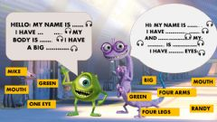 Interactive worksheet Monster Inc Body Parts Reading and Listening