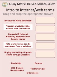 Interactive worksheet Introduction to the Web