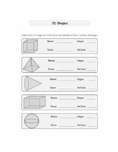 Interactive worksheet Faces, Edges and Vertices