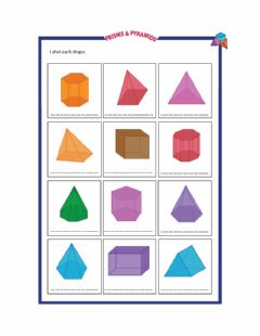 Interactive worksheet Pyramids and Prisms